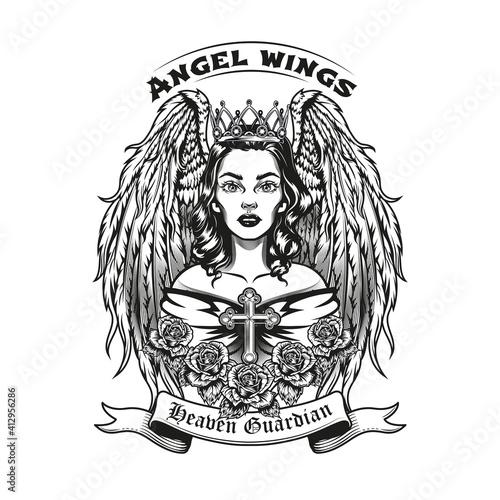 Vintage badge with beautiful angel vector illustration Fototapete