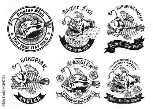 Cuadros en Lienzo Black angler fish label designs vector illustration set
