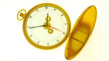 Three-dimensional Model Of A Gold Vintage Pocket Watch. 3d Render Illustration