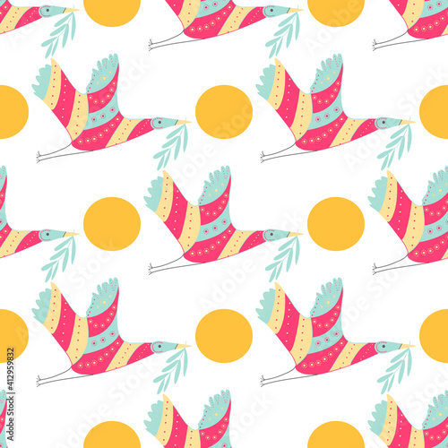 Fotografia Colorful crane and circle pattern on white background