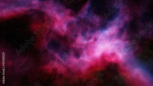 Fototapeta colorful space background with stars, nebula gas cloud in deep outer space, science fiction illustrarion 3d render obraz