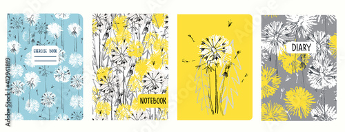 Obraz Set of cover page templates with dandelions. Based on seamless patterns. Headers isolated and replaceable. Perfect for school notebooks, diaries - fototapety do salonu