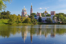 Novodevichy Convent In Summer. Russian Baroque. 16th Century. UNESCO World Heritage Site. Russia, Moscow