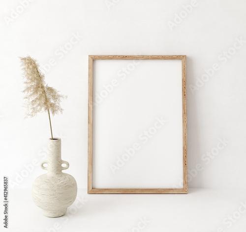 Fototapeta Mock up frame close up in home interior background, Boho style, 3d render obraz