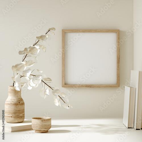 Photo Mock up frame close up in home interior background, Boho style, 3d render