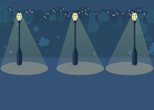 Night Park Flat Color Vector Illustration. Dark City Park With No People Walking Around. Silent Place For Making Crime For Criminal 2D Cartoon Cityscape With Big City Uildings On Background