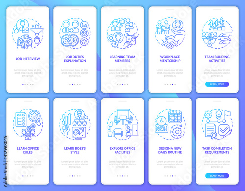 Fototapeta Requirements of completion task onboarding mobile app page screen with concepts set. Office facilties walkthrough ten steps graphic instructions. UI vector template with RGB color illustrations obraz