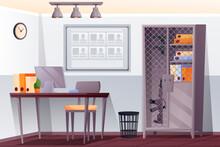 Police Station Interior Background. Security Department Office Vector Illustration. Room With Desk, Computer, Chair, Binders, Plant, Cupboard With Gun, Board. Horizontal Scene