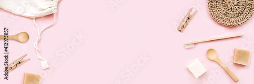 Banner made from zero waste set for bathing on light pink background Fotobehang