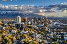 Salt Lake City Drone Profile With Mountains 1