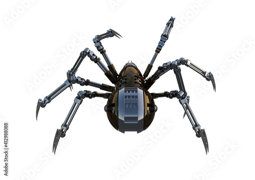 Fotografija Mechanical spider, high resolution image, Pose2, isolated on white background