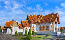 Panorama Of Wat Benchamabophit Dusitvanaram - Buddhist Temple In Bangkok, Thailand. Also Known As The Marble Temple, It Is One Of Bangkok's Best-known Temples And A Major Tourist Attraction