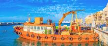 The Old Fishing Trawler In  Tel Aviv, Israel