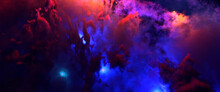 Beautiful Space Background. Nebula Blast. Multicolored Space Clouds. Blue Glowing Gas Giants. Science Fiction Backdrop. Fantastic Cosmic Wallpaper. Vector Illustration. EPS 10.
