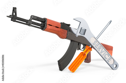 Billede på lærred Service and repair of assault rifle, 3D rendering