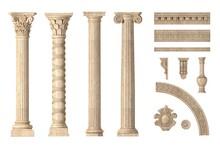 Classic Antique Marble Columns Set