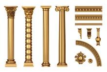 Classic Antique Golden Columns Set