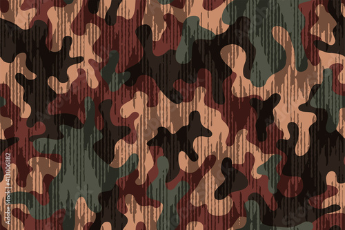 Canvas Print Full seamless military camouflage skin halftone lines pattern vector for decor and textile