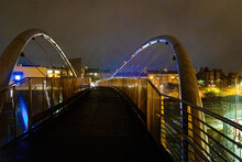 A View Of Celtic Gateway Bridge, A Stainless Steel Pedestrian And Cycle Bridge In Anglesey, Wales