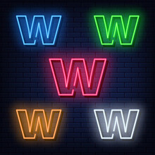 Neon Letters, Five Colors Red, Blue, Green, Yellow, White. Isolated Font On Dark Blue Brick Wall Background. Vector Illustration Eps 10.