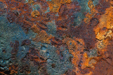 Details Of Rust And Paint On Metal.
