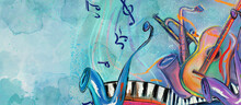 World Of Music. Painting On Canvas. Concept Background.