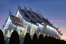 Buddhist Temple In Chinese Style At Wat Huay Pla Kang, Known As Big Buddha Temple On Sunset In Chiangrai, Chiang Rai Province, North Thailand