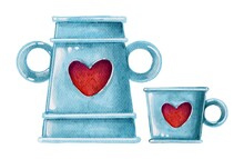 Watercolor Blue Vase And Cup With Red Hearts. Handdrawn Watercolor Painted Clip Art, Saint Valentine's Day Decoration And Symbol. Perfect For Decoration Of Invitations, Posters And Packaging.