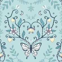 Seamless Repeated Surface Vector Pattern Design With Symmetrical Mirrored White Butterfly With Elaborate Antennas With Flowers And Strawberries On A Light Blue Background