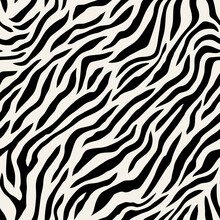 Vector Seamless Pattern With Tiger Stripes. Endless Stylish Texture. Monochrome Repeating Background. Natural Stylish Spotty Animal Print. Can Be Used As Swatch For Illustrator.