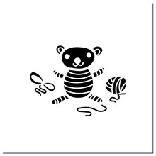 Amigurumi Handmade Glyph Icon. Knitting A Perfect Teddy-bear, Using Needle Pins And Wool Clew Balls. Tenderly Crochet Toy. Handmade Concept.Filled Flat Sign. Isolated Silhouette Vector Illustration