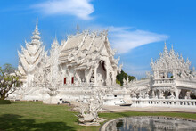 Famous Wat Rong Khun, Or White Temple In Chiangrai, Chiang Rai Province, North Thailand
