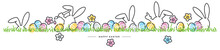 Easter Line Design Rabbits And Spring Flowers Colorful Eggs In Green Grass Easter Egg Hunt White Greeting Card