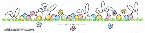 Fototapeta Easter line design rabbits and spring flowers colorful eggs in green grass Easte