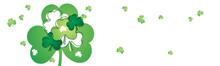 Saint Patrick's Day Background With Many Isolated Green Shamrock