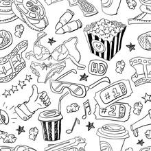 Seamless Pattern With Hand Drawn Cinema Theme Doodles, Online Cinema Etc.