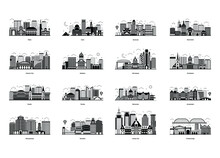 Pack Of Buildings Architecture Glyph Illustrations