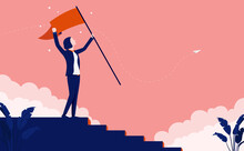 Career Woman Taking Steps To Success - Climbing The Corporate Ladder And Waving Flag On Top. Vector Illustration.