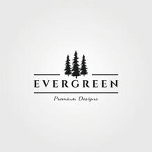 Three Pines Logo Vector Evergreen Minimalist Symbol Illustration Design