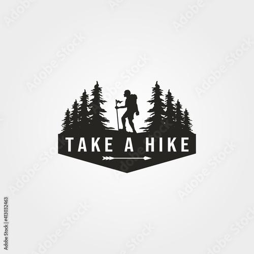 Tela take a hike logo vector with man hiking symbol illustration design