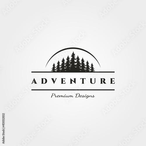 landscape pine tree logo vector minimalist with sun silhouette illustration desi Fototapet