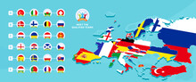European 2020 Football Championship Vector Illustration With A Map Of Europe With Highlighted Countries Flag That Qualified To Final Stage And Logo Sign On Blue Background