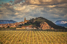 View Across Vineyard Toward The Hill Town Of Larraga In Spain.