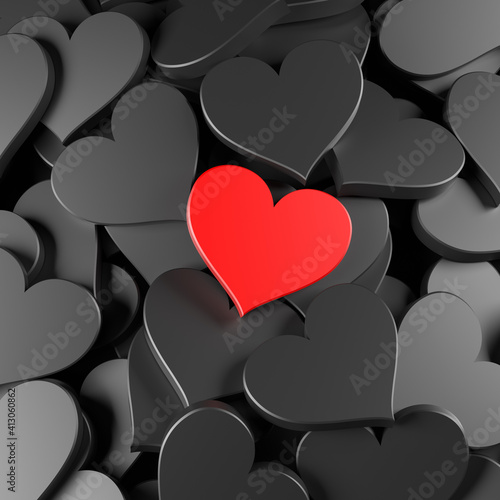 Obraz Black and red hearts background. Concept for Valentine's Day, Women's Day, and others. 3D Rendering - fototapety do salonu