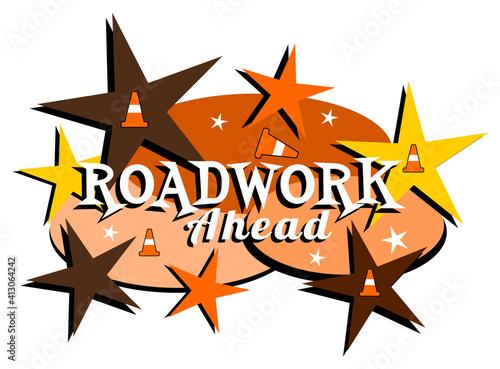 Mid-century modern roadwork ahead label #413064242