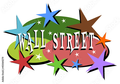 Stock market and Wall street mid-century modern label #413064279