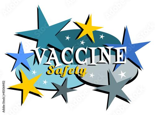 Vaccine safety mid-century modern label #413064412
