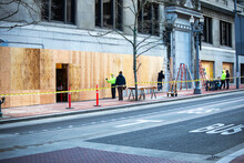 Portland, Oregon USA - Feb. 10, 2021 City Blocks Of Businesses Boarded Up, Barricaded And Fenced Off Due To Continual Political Violent Riot In The Portland, Metro Area.