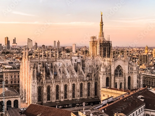 High Angle View Of Cathedral Against Sky During Sunset Fototapete