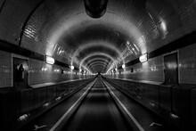 Diminishing Perspective Of Illuminated Subway Station